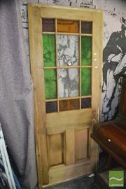 Sale 8326 - Lot 1363 - Federation Timber Door with Coloured Glass Panels
