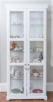 Sale 8470H - Lot 176 - A contemporary 12 panel glass two door cabinet, H 215 x W 90 x D 40cm