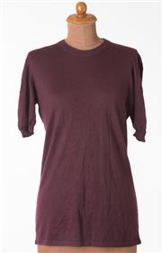 Sale 8550F - Lot 202 - A Chanel soft cashmere blend burgundy short sleeve top, size M.