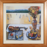 Sale 8677B - Lot 923 - Shalansky, still life with violin, framed print, lithograph, frame size 95cm x 92cm, together with another print of a nursery