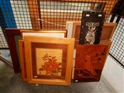 Sale 8668 - Lot 2060 - Group of Assorted Artworks, including marquetry, decorative prints, engravings and watercolours, framed and various sizes