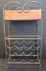Sale 8951 - Lot 1050 - Metal Wine Rack with Timber Box (H: 84.5, W: 47, D: 21.5cm)