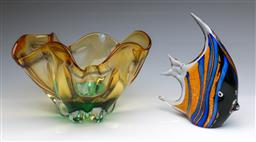 Sale 9098 - Lot 127 - An art glass angel fish together with an amber glass bowl (W26cm, chip to rim)