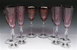 Sale 9144 - Lot 294 - Collection of etched coloured glasses