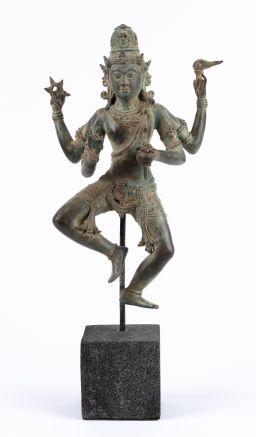 Sale 9150J - Lot 45 - Patinated Bronze Dancing Shiva Figure, on stone base - total height 40cm