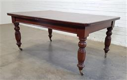 Sale 9166 - Lot 1082 - A Mahogany Victorian extension dining table with two leaves raised over turned legs and castors, winder in office, H77, W121, Fully...