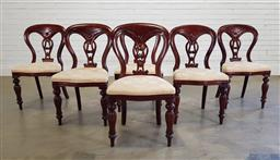 Sale 9188 - Lot 1307 - Set of 6 mahogany spoon back dining chairs (h:90 x w:50 x d:41cm)