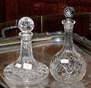 Sale 8015A - Lot 35 - A non-matching pair of crystal decanters