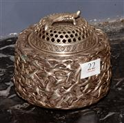 Sale 8127A - Lot 22 - Chinese White Metal Incense Burner with Cover,