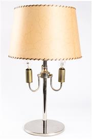 Sale 8308A - Lot 240 - A chrome three branch table light with pig skin effect shade and leather stitching, height 58cm