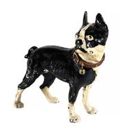 Sale 8586A - Lot 37 - An antique Boston terrier cast iron statue with leather collar door stop, H 25cm