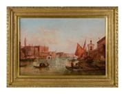 Sale 8716A - Lot 29 - Boats in Venice by Alfred Pollentine (British, 1836-1890). Oil on canvas signed. 51 x 76 cm