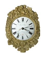 Sale 8828A - Lot 47 - Antique French clock dial and brass surround Andre Speth salvaged from a comtoise clock and refitted with a quartz movement. Overa...