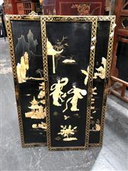 Sale 8854 - Lot 1008 - Chinese Triptych Panels with Applied Mother of Pearl Details