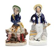 Sale 8873A - Lot 17 - A Staffordshire figure of a Scottish hunter in costume and a sailor, Britains Glory