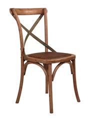 Sale 9010F - Lot 7 - A SET OF EIGHT LIGHT OAK DINING CHAIRS WITH GREY METAL  X BACK STRAP. H:90W:47 D:46cm