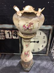 Sale 9006 - Lot 1007 - Royal Tudor Ironstone Jardiniere (chip to rim) on Stand (Total Height: 95cm)
