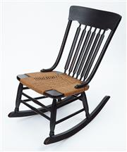 Sale 9080J - Lot 62 - An antique dark stained pine slat back rocking chair upholstered in woven seagrass C: 1900  Ht: 79cm x W: 79cm