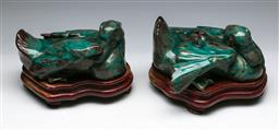Sale 9138 - Lot 105 - A Pair of Terracotta Green Glazed Birds on Timber Stands (L:24cm)