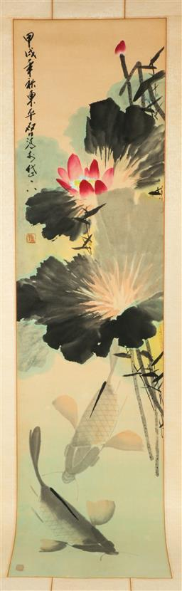 Sale 9164 - Lot 388 - Chinese scroll featuring flowers and carp (190cm x 42cm)