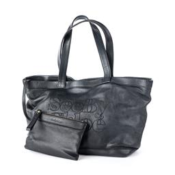 Sale 9221 - Lot 349 - SEE BY CHOLE BLACK LEATHER TOTE BAG WITH POUCH;  embroidered See By Chloe front to magnetic closure and charcoal cotton interior wit...