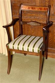 Sale 8015A - Lot 44 - An Edwardian barback armchair with striped upholstery