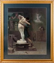 Sale 8308A - Lot 246 - Framed classical print after the original of artist and muse embracing in decorative gilt framing, 97 x 83cm
