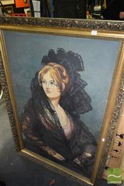 Sale 8509 - Lot 2094 - J. Carguana - Woman in Black Mantilla, acrylic on canvas (AF), 135 x 94cm(frame size), signed lower right
