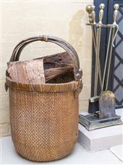 Sale 8550H - Lot 56 - A set of fire tools and a log basket, H of tool stand 73cm