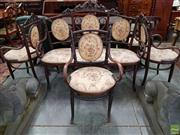 Sale 8576 - Lot 1076 - Victorian Beech Bentwood Salon Suite, possibly Thonet, incl Settee & three armchairs, with carved scrolled & padded back, upholstere...
