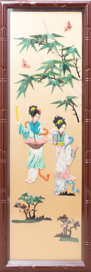 Sale 8593A - Lot 99 - A set of four Chinese three dimensional panels of ladies in landscapes, in box frames, plus one other, each frame 100 x 34cm