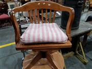 Sale 8740 - Lot 1685 - Timber Captains Chair with Slatted Back