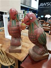 Sale 8777 - Lot 1083 - Pair of Carved & Painted Timber Parrots