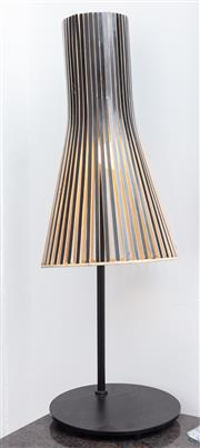 Sale 8891H - Lot 1 - A Lucci designer lamp with painted ply shade. Height 74cm