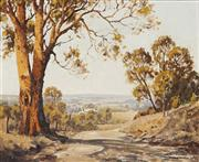 Sale 8955A - Lot 5039 - Dudley Parker (1914 - 1989) - Sunlit Track To Meroo River Valley, Mudgee, 1940s 45 x 55 cm (frame: 62 x 73 x 6 cm)