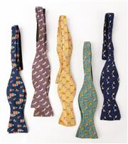 Sale 9080F - Lot 97 - A COLLECTION OF FIVE HERMES BOW TIES;  made from 100% silk in various fun prints including unicorn, babushka doll.