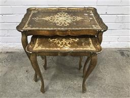 Sale 9121 - Lot 1015 - Nest of two gilt French style tables (h:59 w:56 d:35cm)