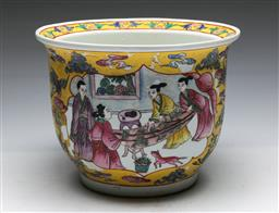 Sale 9156 - Lot 220 - A yellow ground Chinese jardiniere featuring characters (H:20cm Dia:27cm)
