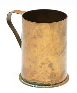 Sale 9253 - Lot 46 - A brass shell case tankard with Chinese characters stamped to base (H:13cm) - some patina around bottom