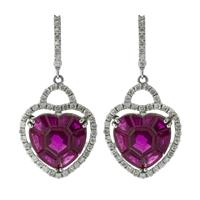 Sale 8221A - Lot 69 - 18ct White Gold Ruby and Diamond Earrings; centering mix cut rubies to surround and surmount round brilliant cut diamonds