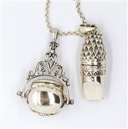 Sale 8265 - Lot 313 - VICTORIAN STYLE STERLING SILVER PENDANTS AND CHAIN; spinning triple locket and owl whistle on belcher link chain.