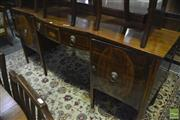 Sale 8317 - Lot 1067 - Georgian Style Inlaid Mahogany Sideboard, with bat wing medallion to drawer & oval panels to the two doors, on tapering legs (variou...