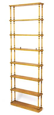 Sale 8912H - Lot 18 - An interesting seven tier ivory painted timber shelving unit, the bobbin turned pillar supports and shelves with black painted highl...