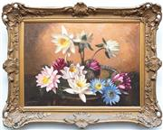 Sale 8375A - Lot 20 - Albert Sherman, Water Lillies, oil on canvas, 54 x39cm, signed lower left in elaborate gilt frame