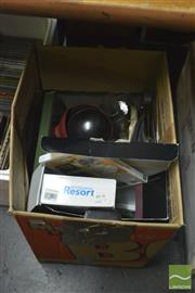 Sale 8407T - Lot 2477 - Box Of Sundries Incl. Wii Games & Glasses