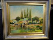 Sale 8437 - Lot 2041 - C.R. Johnson (XX) - Country Homes Along the River 36.5 x 44cm