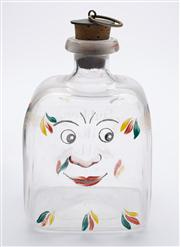 Sale 8528A - Lot 21 - A vintage possibly Swedish small square enamelled decanter with motto, Gubben Gillar Nubben, translates to Old Man likes Schnapps,...
