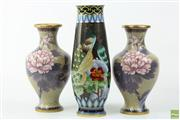 Sale 8586 - Lot 201 - Pair Of Cloisonne Vases (21cm) With Larger Example (26cm)