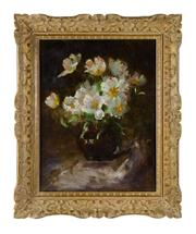Sale 8716A - Lot 37 - An antique French or American impressionist still life signed Humbert. Oil on canvas on board in a fine period carved  French fram...