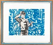 Sale 8863H - Lot 69 - DAVID BROMLEY (born 1960) - Untitled (Boy and Graffiti) 35.0 x 48.0cm